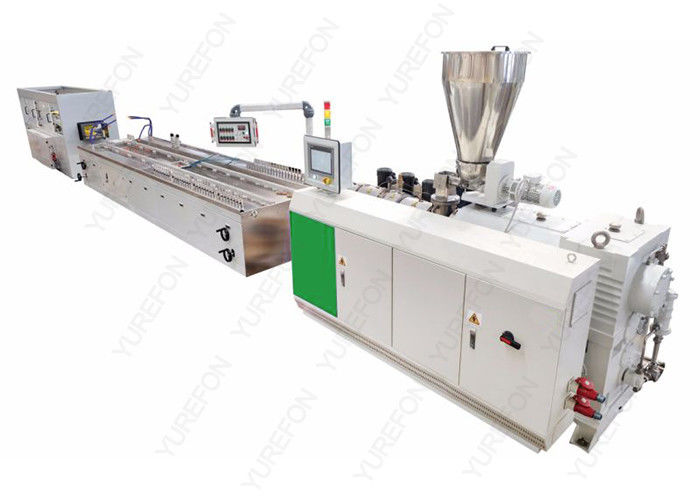 Double Screw WPC Profile Extrusion Line , 20 M Wood Plastic Composite Production Line